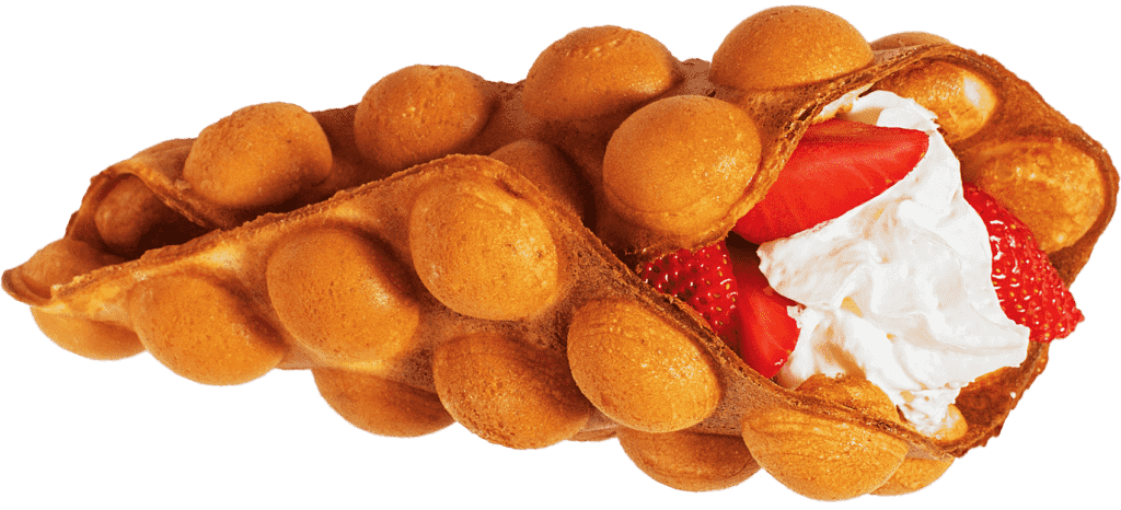 Bubble Waffle Fresas con Nata